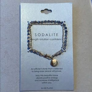 Silver plated and sodalite bracelet